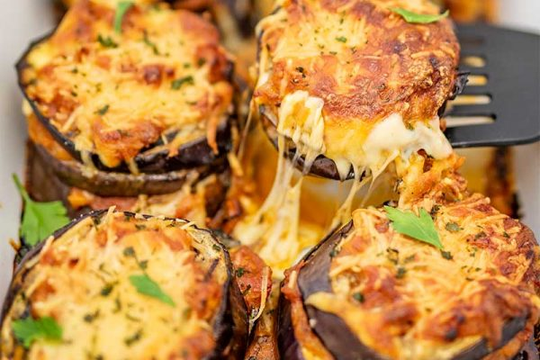 Baked Eggplant with Cheese Keto Style.